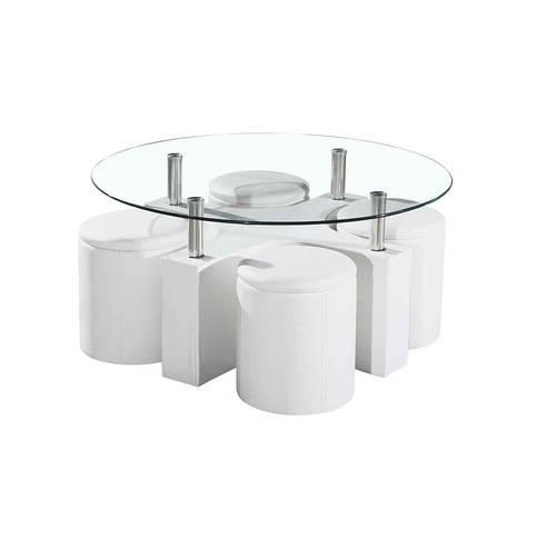 Table basse avec poufs pas cher