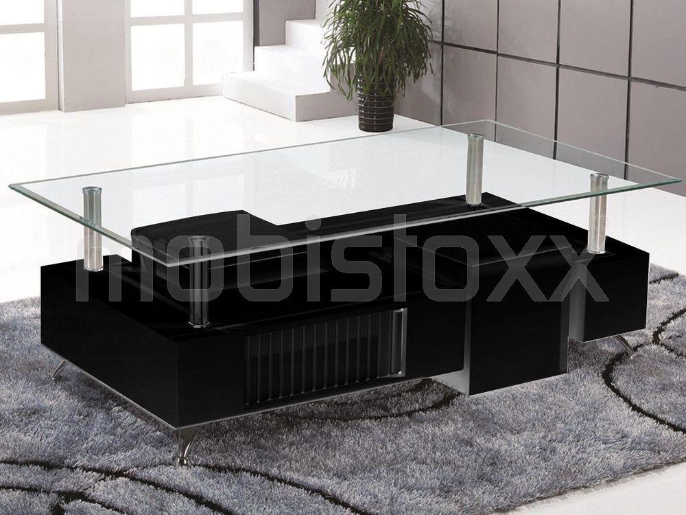 Table basse noir laqué avec pouf