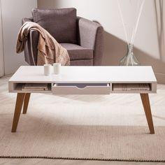 Table basse vintage avec tiroir
