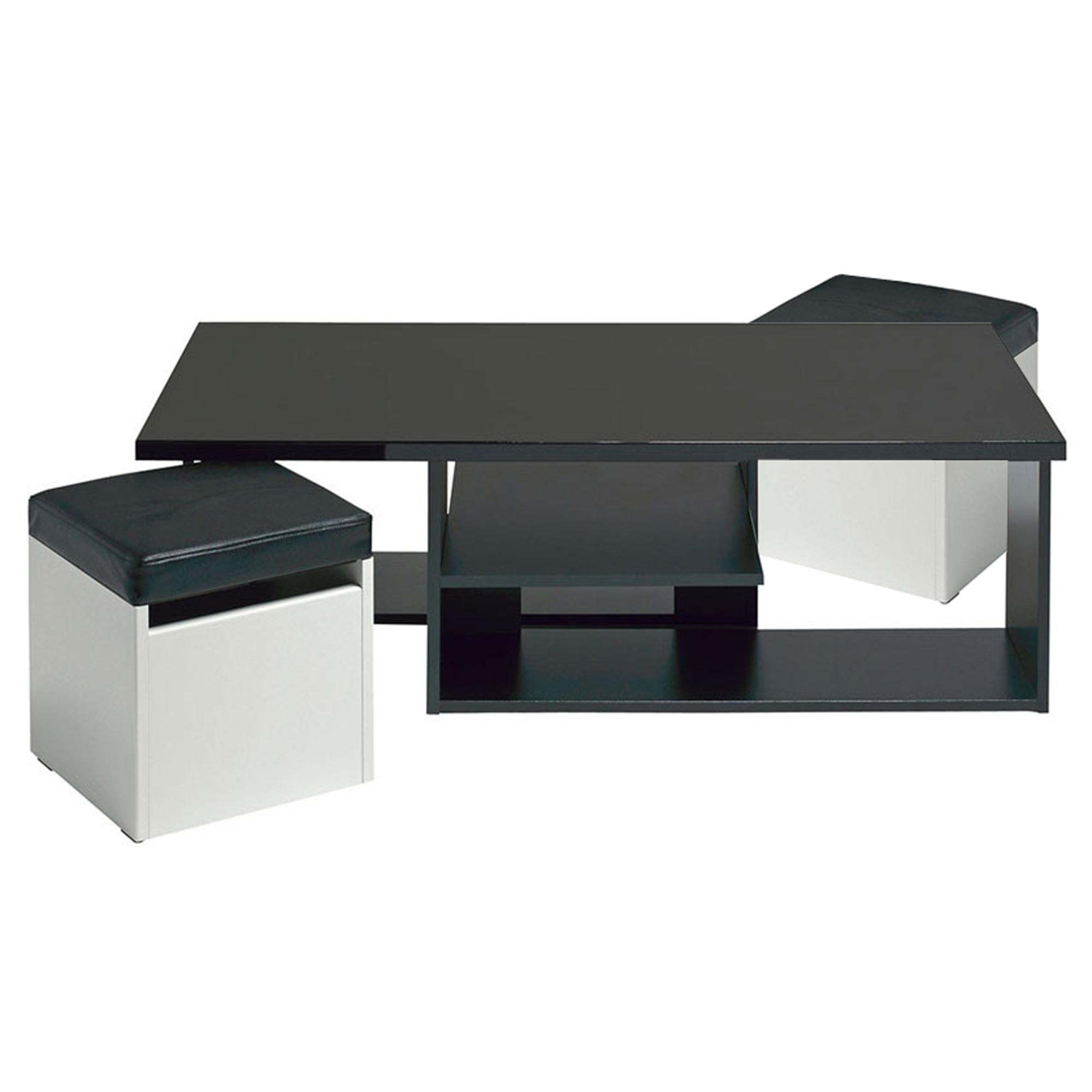 Table basse avec pouf encastrable