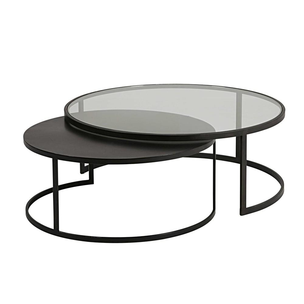 Table basse rectangulaire en verre noir