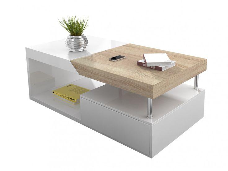 Table basse blanche avec rangement de bar intégré