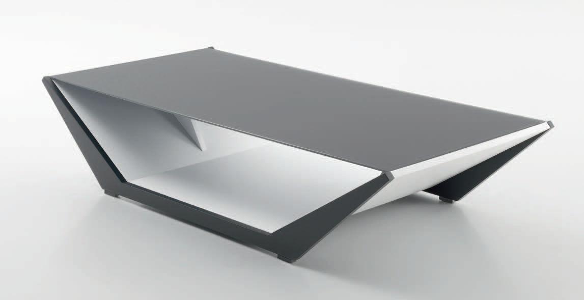 Table basse en verre opaque