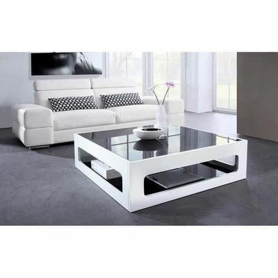 Table basse blanc laquée avec plateau en verre fumé willy