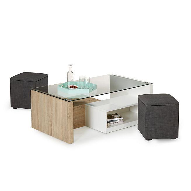 Table basse de salon en verre avec pouf