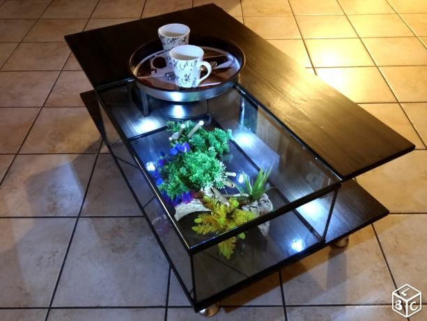 Table basse aquarium en verre