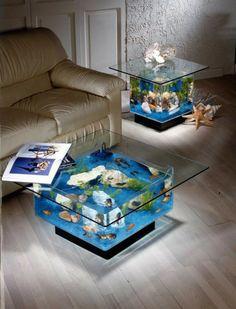 Table basse aquarium led
