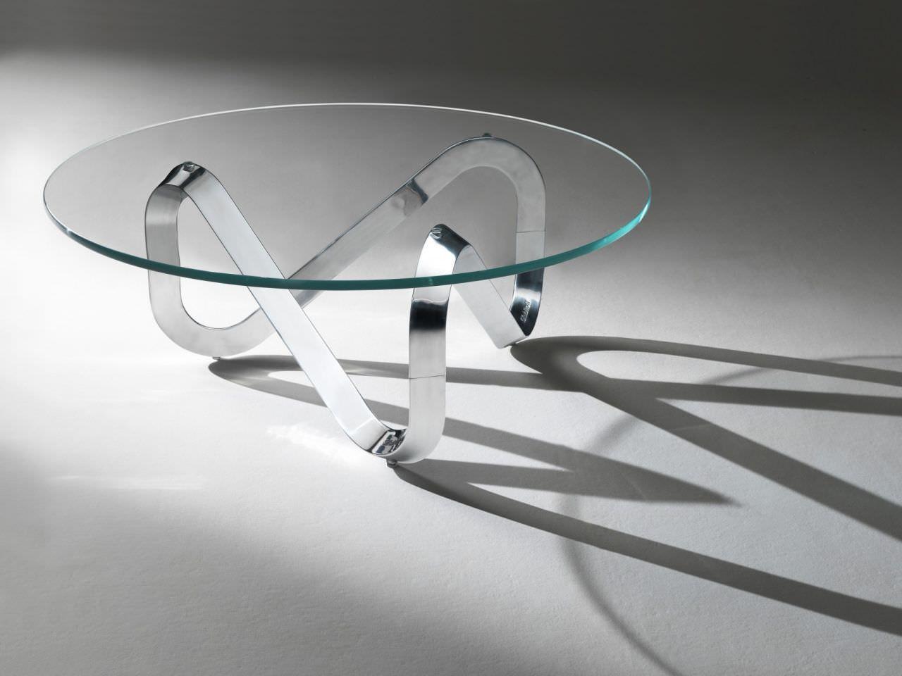 Table basse en verre et metal