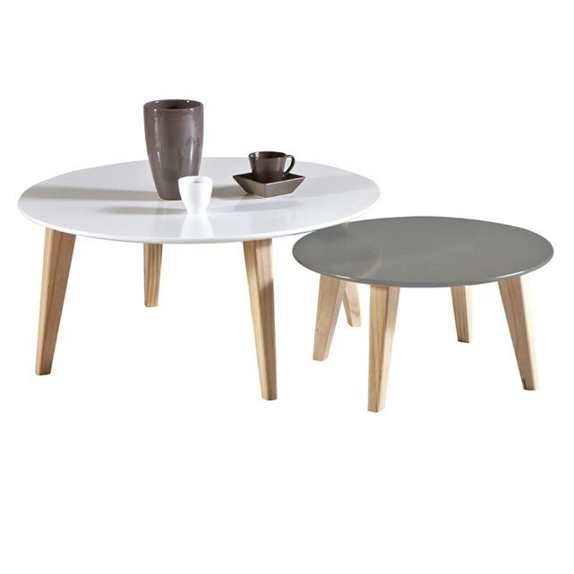 Table basse gigogne ovale blanche