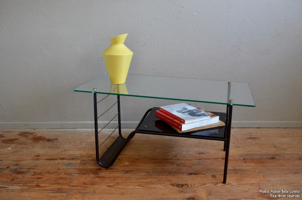 Table basse vintage verre et metal