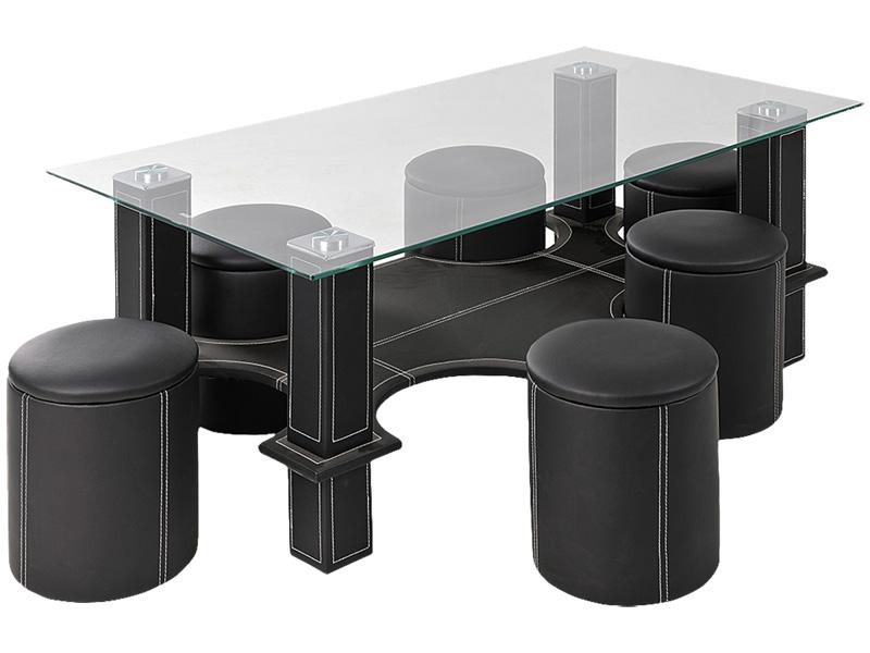 Table basse avec 6 pouf