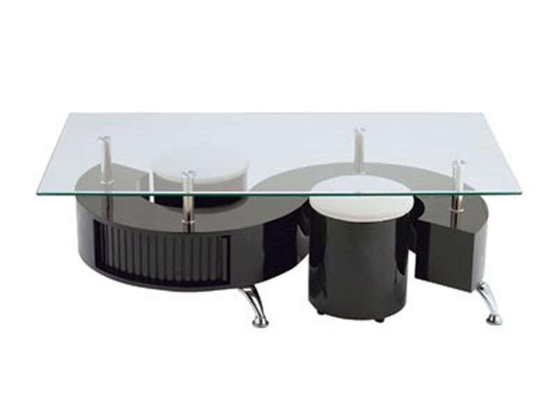 Table basse avec poufs en verre