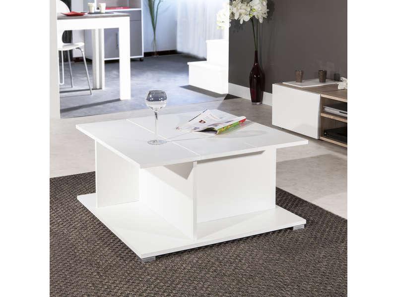 Table basse bois avec rangement bar longueur 73.6cm largeur 73.6cm swedish