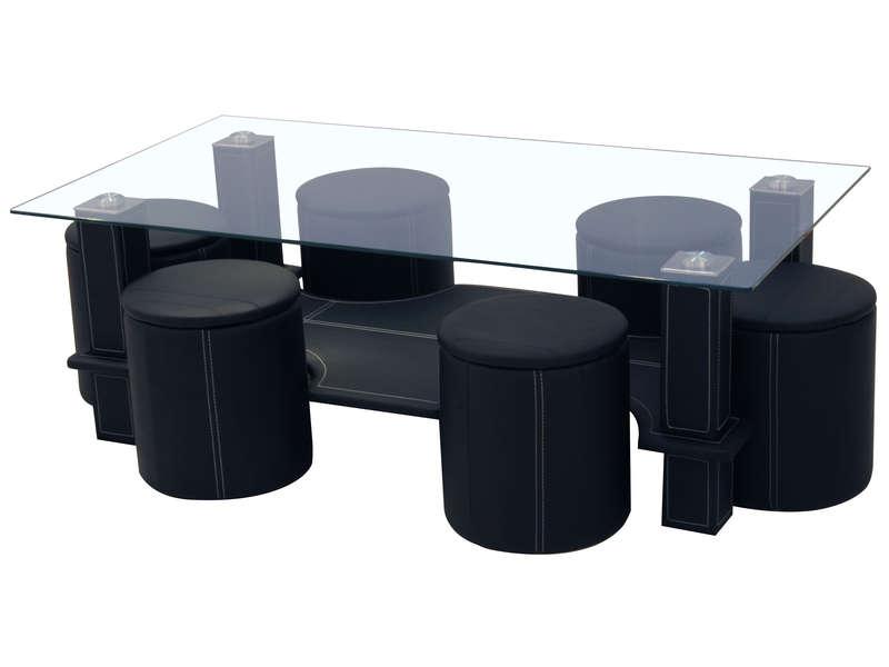 Table basse blanche avec 6 poufs
