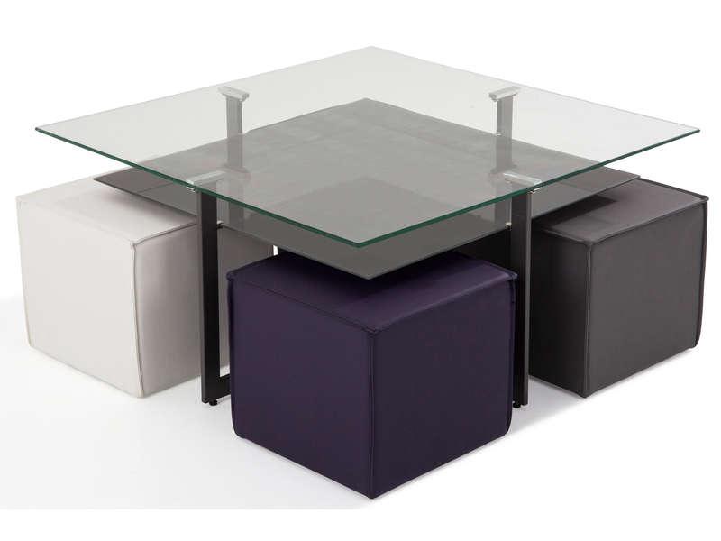 Table basse en verre avec deux poufs