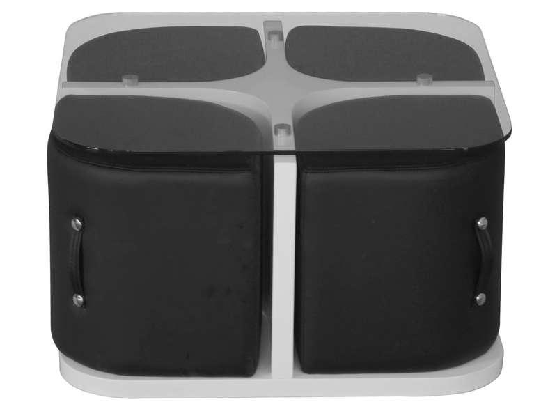 Table basse ronde avec pouf conforama