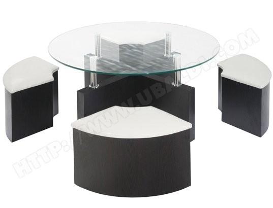 Table basse avec pouf de rangement