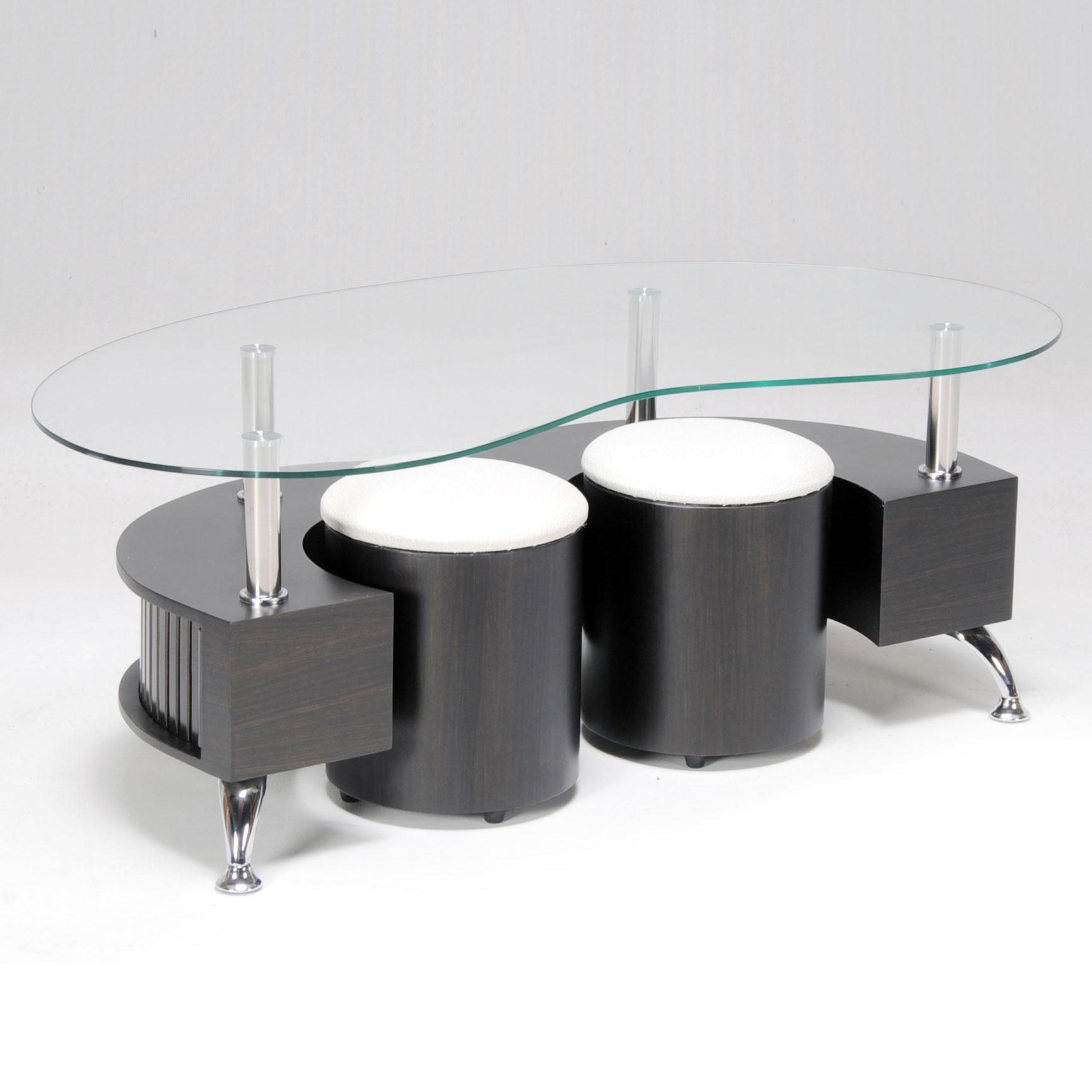 Table basse en verre avec pouf blanc