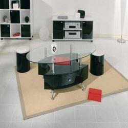 Table basse ovale avec pouf