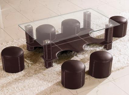 Table basse avec 4 pouf conforama