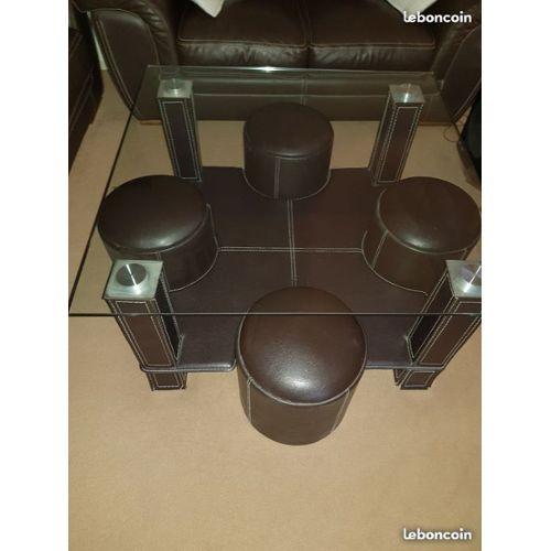 Table basse avec 4 poufs marron