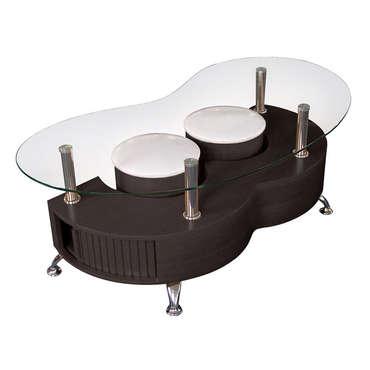 Table basse avec pouf wengé