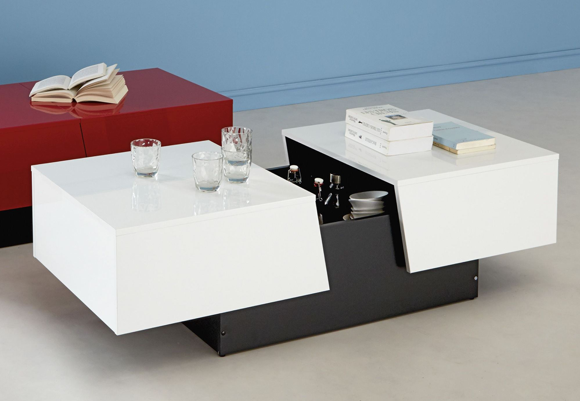 Table basse design avec rangement blanc laqué corina