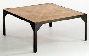 Table basse carrée bois et fer forgé