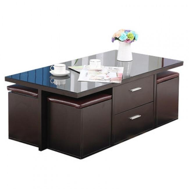 Table basse avec pouf incorporé