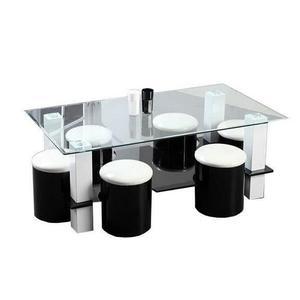 Table basse verre + pouf quadrifoglio