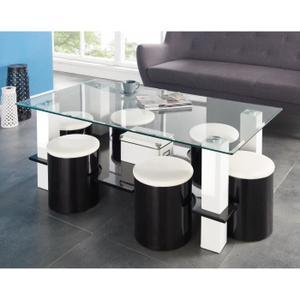 Table basse en verre avec pouf noir