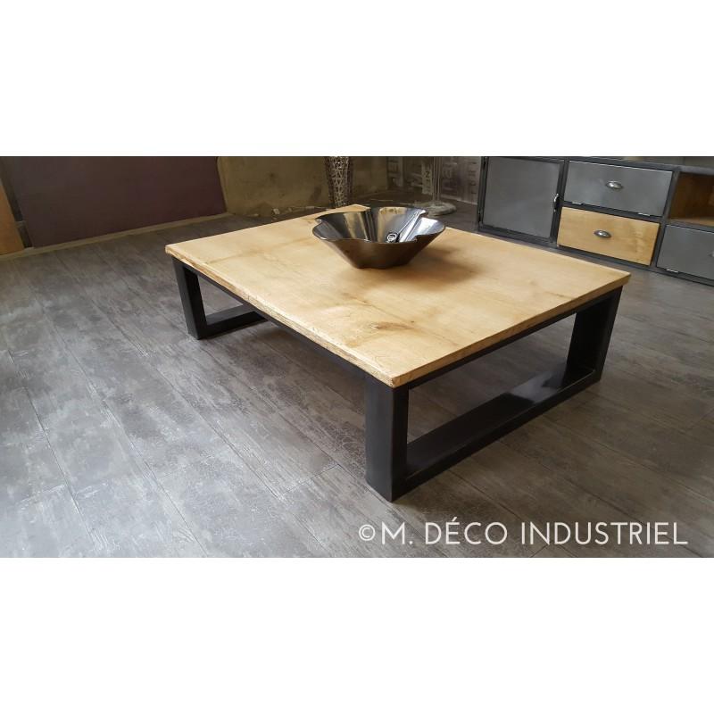 Table basse industrielle chene