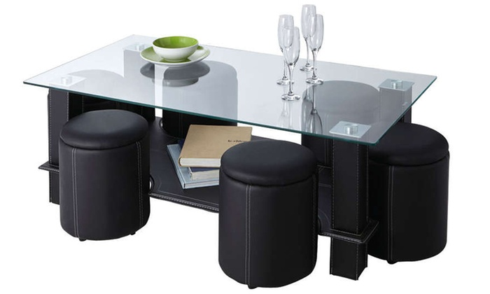Table basse avec 6 poufs