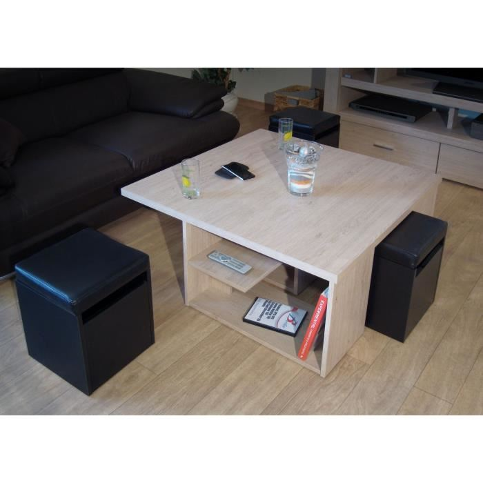 Table basse avec pouf et rangement