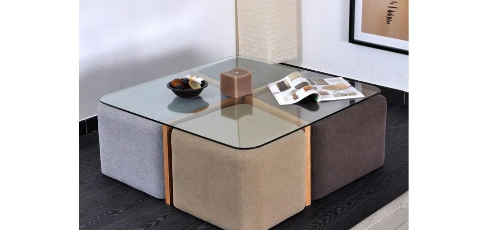 Table basse ronde en bois avec pouf