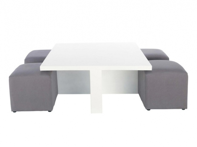 Table basse avec pouf rangement