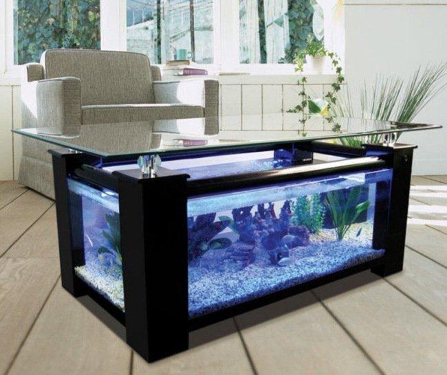 Table basse aquarium marin