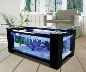 Table basse salon aquarium aulne