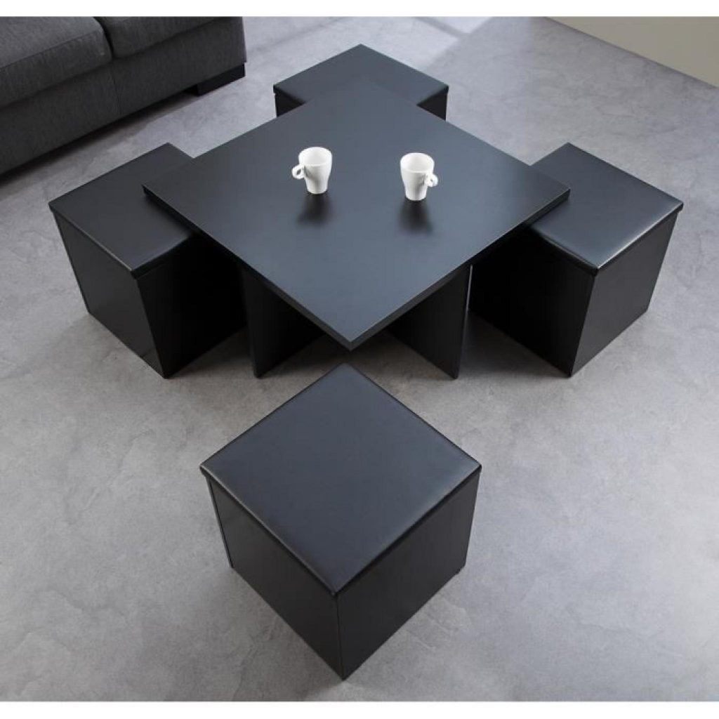 Table basse ronde avec pouf encastrable