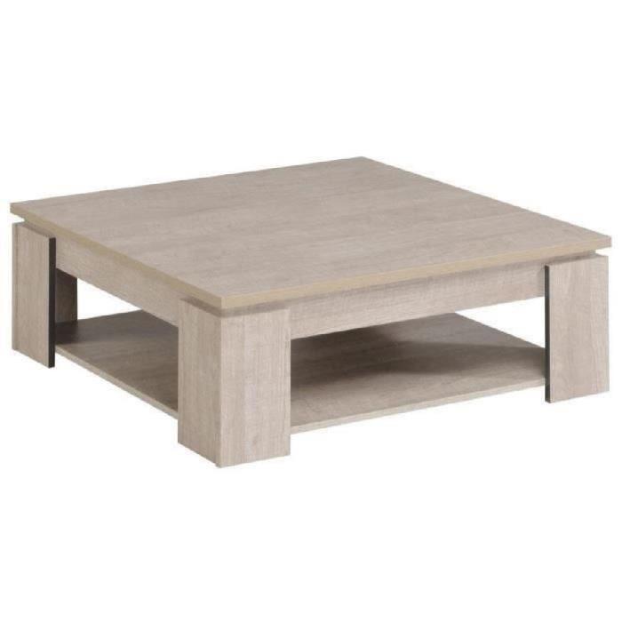 Table basse carrée en bois gris