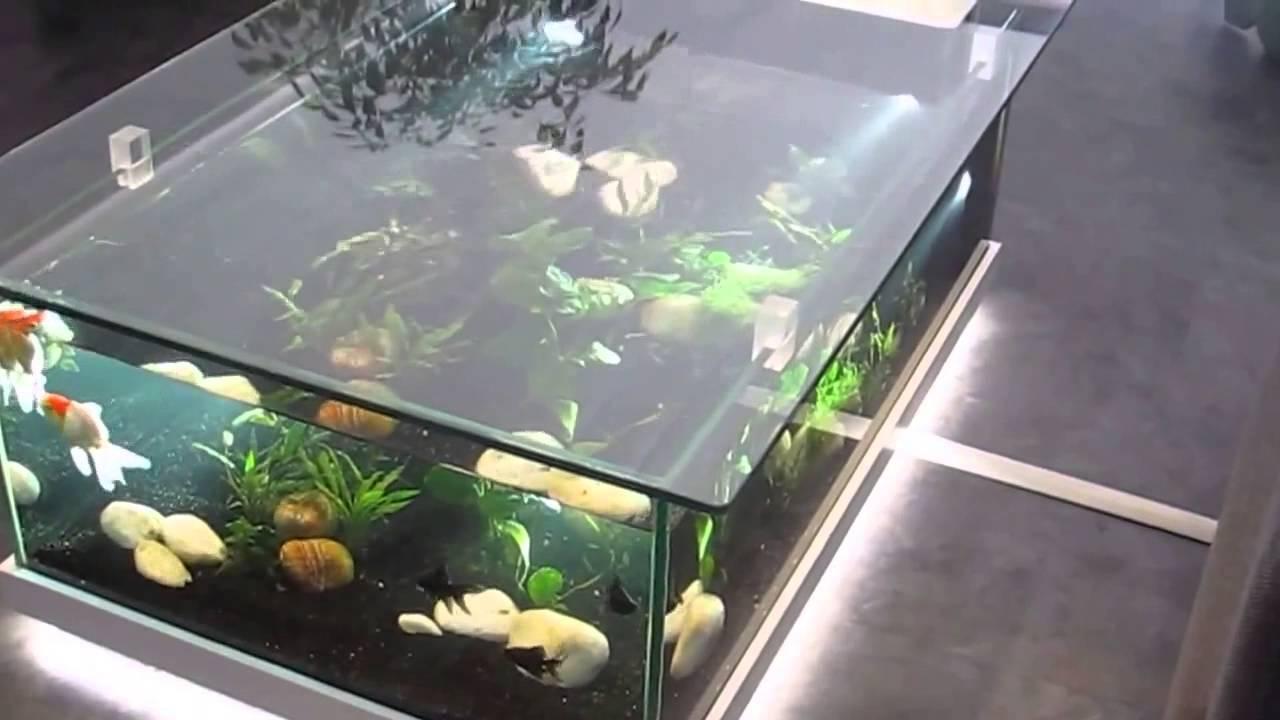 Table basse aquarium rouge