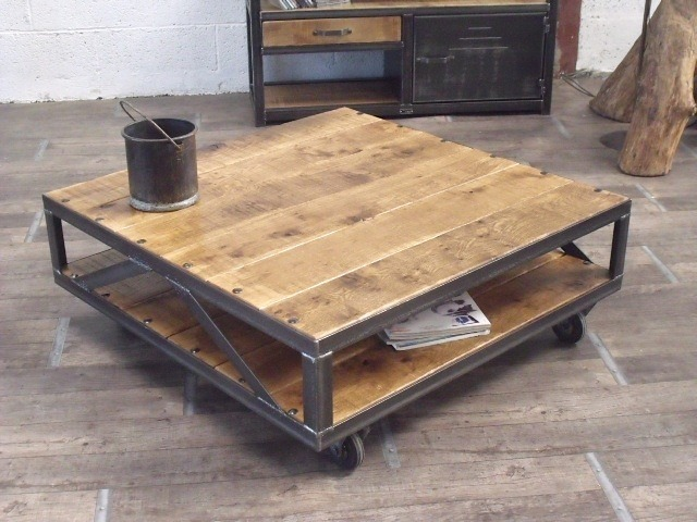 Table basse industrielle solde