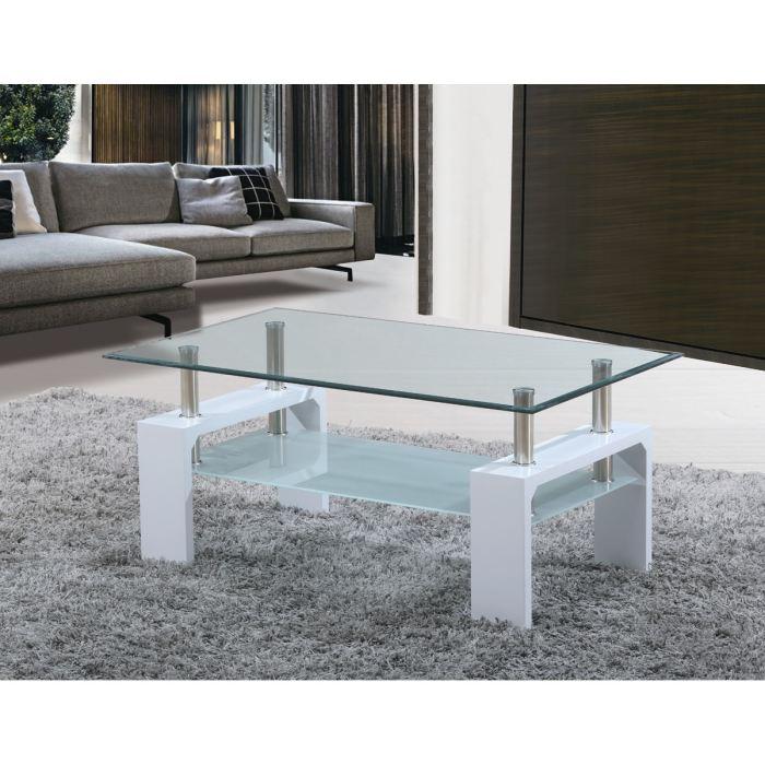 Table basse en verre pied blanc
