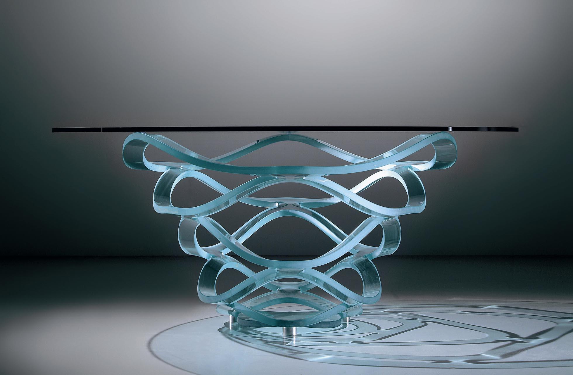 Table basse en verre fleur