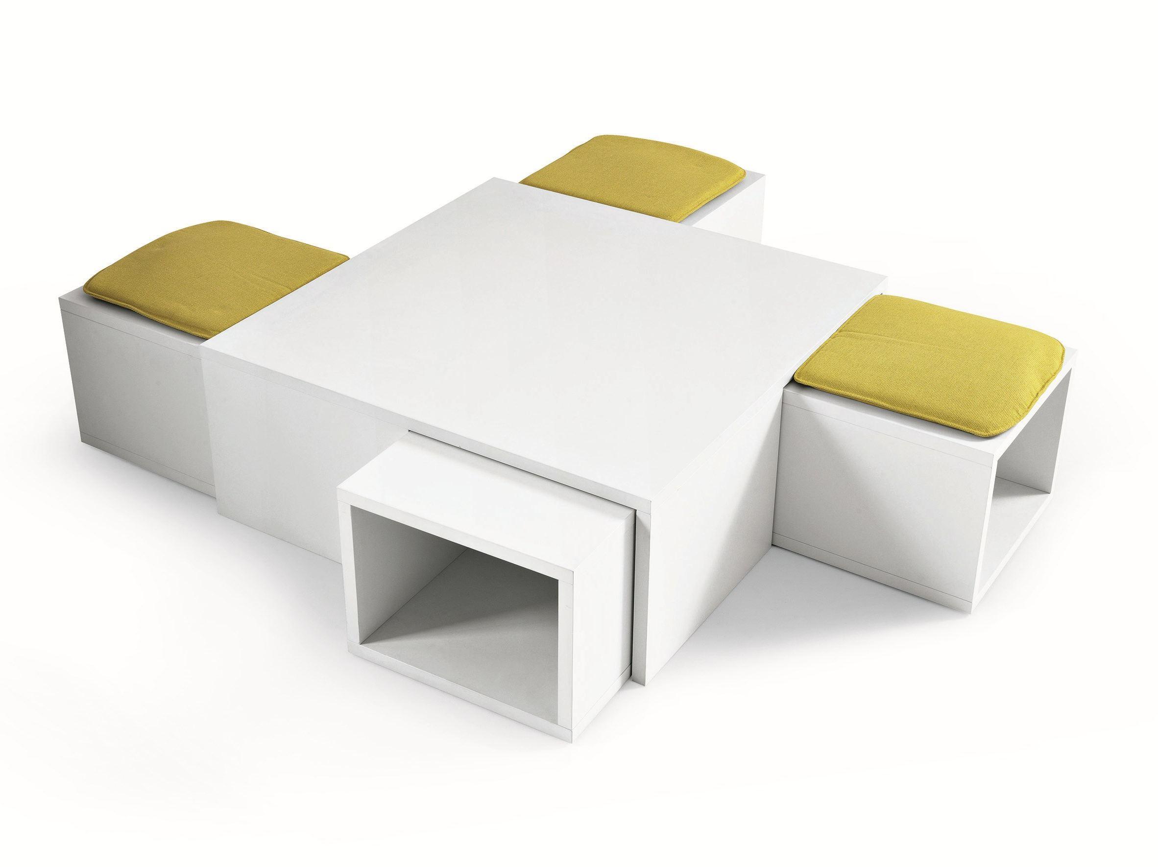 Table basse avec 4 pouf encastrable