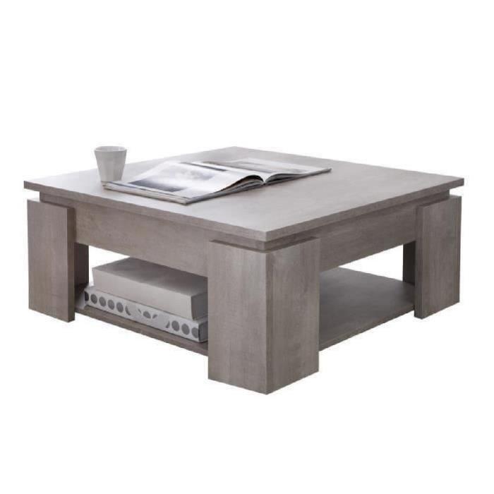 Manhattan table basse carrée gris brillant