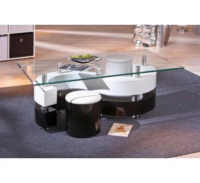 Table basse ronde avec pouf noir