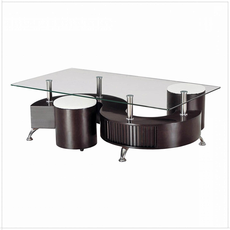 Table basse avec 2 pouf conforama