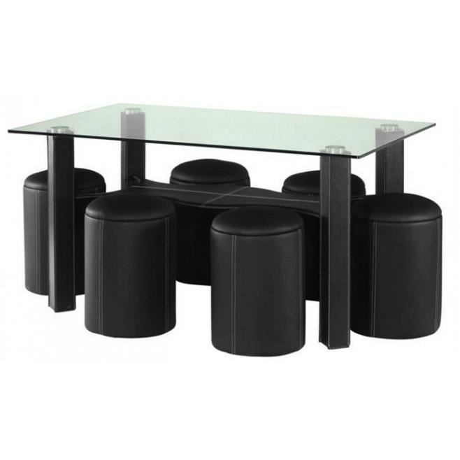 Table basse avec 6 poufs encastrables rouge