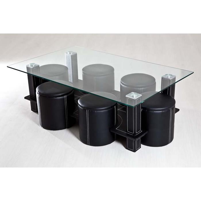Table basse avec poufs cdiscount